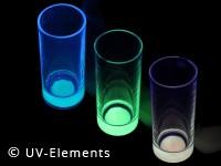 Nachleuchtendes Glas Set 3Stk (blau,gelb,grün)